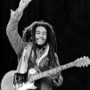 Bob Marley at the end of his gig at Dalymount Park in Dublin 1980. This was one of his final gigs as he died later in the year from his cancer.