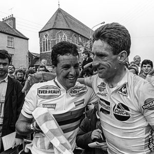 Stephen Roche and Sean Kelly on Nissan Classic Cycling race