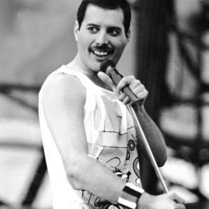 Freddie Mercury performing at Slane Castle with Queen in 1986. This performance was shortly after his wonderful performance at Live-Aid in London and his energy was still up.
