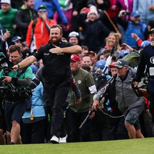 Shane Lowry celebrates winning the Open
