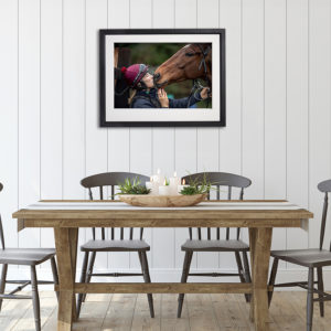 Horse Kiss in room setting