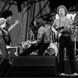 Philip Lynott and Rory Gallagher perform  at the first Punchestown festival in Kildare Ireland 1982.