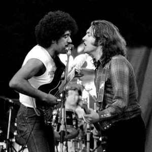 "Philip Lynott and Rory Gallagher perform ""This is the woman"" at the first Punchestown festival in Kildare Ireland 1982."