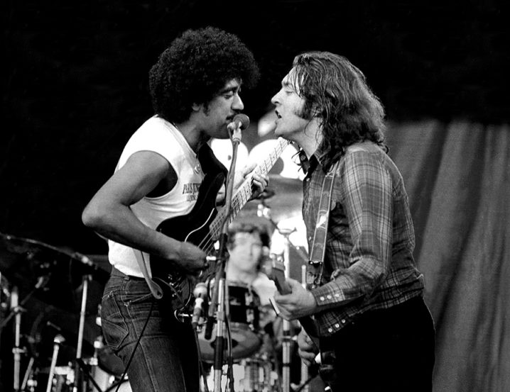 """Philip Lynott and Rory Gallagher perform """"This is the woman"""" at the first Punchestown festival in Kildare Ireland 1982."""