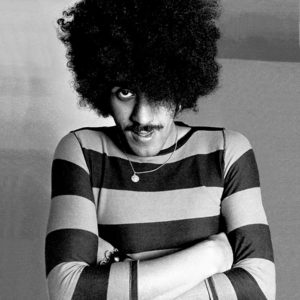 Philip Lynott impersonates Denis the menace while fooling around at his home in Howth Dublin 1983.
