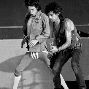 Rolling Stones Mick jagger and Keith Richard performing at Slane castle Ireland in 1982.