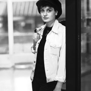 Sinead O'Connor at Dublin airport leaving Ireland to sign a record contract in London aged 18 in 1985.