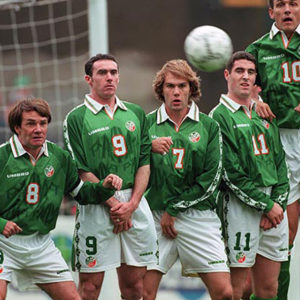 Republic of Ireland players defend a free kick