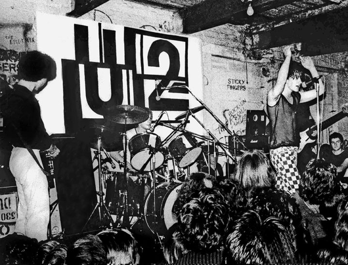 U2 performing at The Dandelion market Dublin in 1979