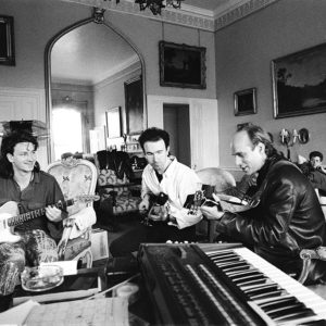 """U2 recording """"The Unforgettable Fire"""" album with producer Brian Eno at Slane castle in Ireland 1984."""