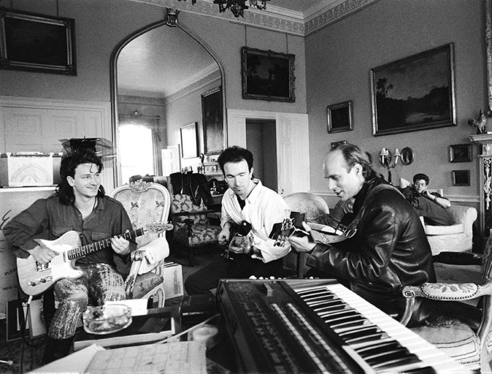 "U2 recording ""The Unforgettable Fire"" album with producer Brian Eno at Slane castle in Ireland 1984."