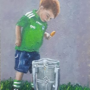 Little Limerick Lad looking into the Liam McCarthy Cup