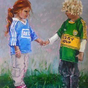 A blonde haired Kerry boy and Dublin girl with long red hair holding hands.