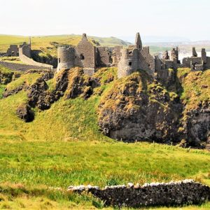 Dunluce Castle perched on Antrim Coastline