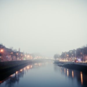 An early morning view of the river Liffey in Dublin