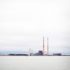 The iconic poolbeg chimneys that sit in Dublin Bay.