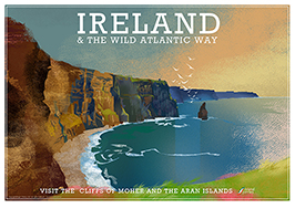 Poster of Ireland's west coast featuring the Cliffs of Moher.