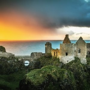 A panorama view of a sunset at Dunluce just before the storm moved in.