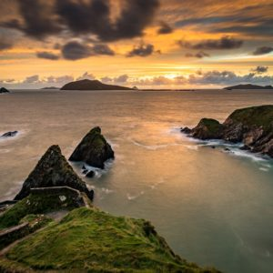 A seascape of Dunquin Pier just after the sun has set.