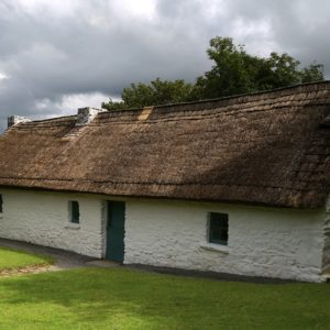 The cottage is traditional thatched