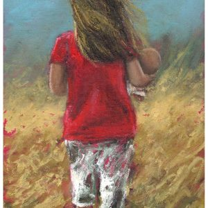 Small girl walking through a windswept field.
