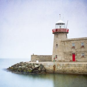 The lighthouse of Howth Harbour at the northern point of Dublin Bay in Ireland.