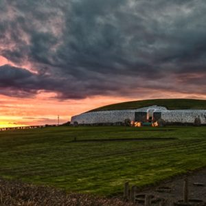 A panorama of one of Ireland's most important sites at sunset.