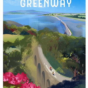 Poster of the Waterford Greenway cycling and walking route the Kilmacthomas viaduct and the causeway to Dungarvan