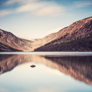 A tranquil image from the shores of the Upper Lake in Glendalough